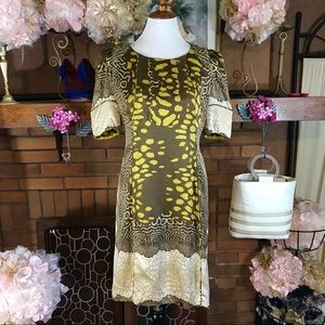 ISSA LONDON PURE SILK CHARTREUSE AND TAUPE DRESS
